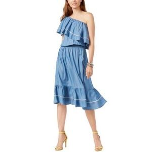INC ruffled one shoulder chambray dress